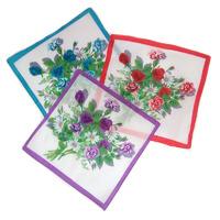 Платок носовой с цветами 25*25 см