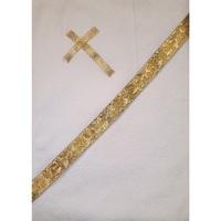 """Полотенце крестильное с капюшоном шампань с золотом """"Алтея"""""""