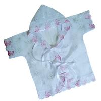 """""""МоёДитё"""" крестильная рубашечка на девочку с капюшоном белая с розовым КР-13 """"Кассия"""""""