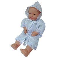 """""""МоёДитё"""" крестильная рубашечка на мальчика с капюшоном белая с голубым КР-13 """"Кассия"""""""