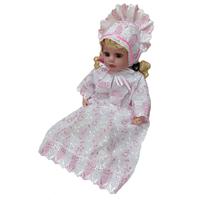 """""""МоёДитё"""" набор крестильный на девочку из 2 предметов """"Кассия"""" белый с розовым КР-05"""