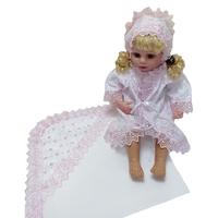 """""""МоёДитё"""" крестильный набор на девочку белый с розовым КР-07 """"Кассия"""""""