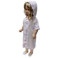"""""""МоёДитё"""" крестильная рубашечка с капюшоном на девочку белая с розовым КР072 """"Магнолия"""""""