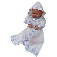 """""""МоёДитё"""" крестильная рубашечка с капюшоном на мальчика белая с голубым КР072 """"Магнолия"""""""