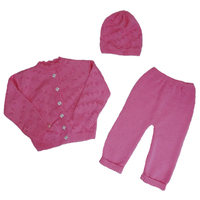 """МоёДитё"" костюм из 3-х предметов ""Бантик"" тёмно-розовый ""Лотос"""